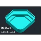 FIBERGLASS POOL MINIPOOL 3.15x3.15x1.1